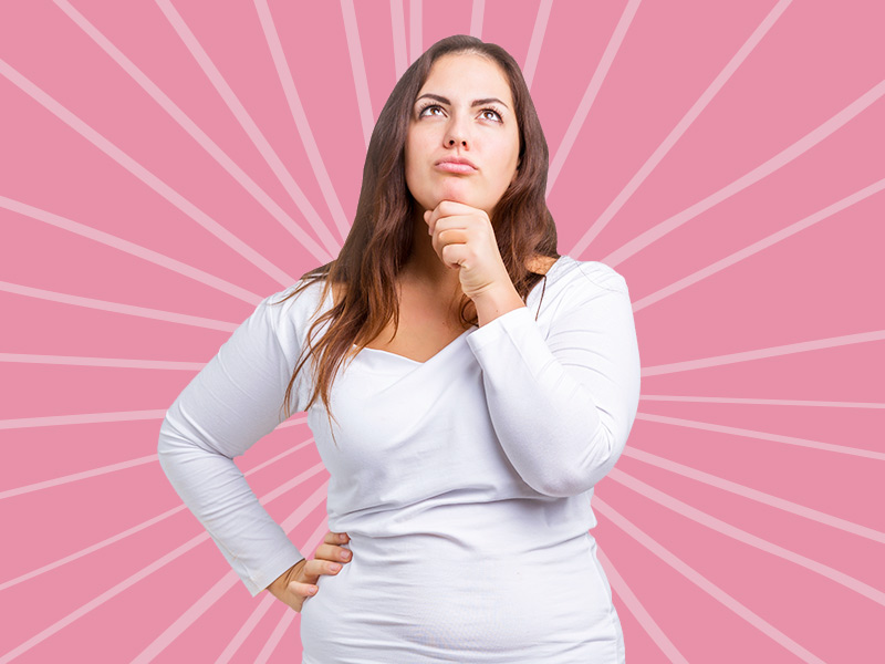 mulher duvida eliminar estomago alto